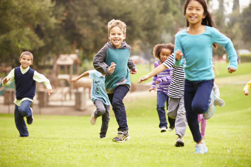 children running and playing